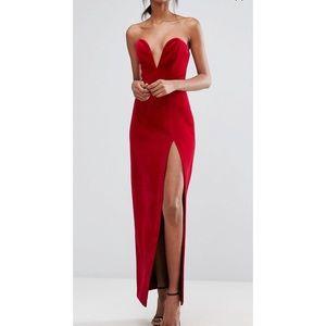 Dresses & Skirts - TTYA bonded velvet sweetheart bandeau maxi dress